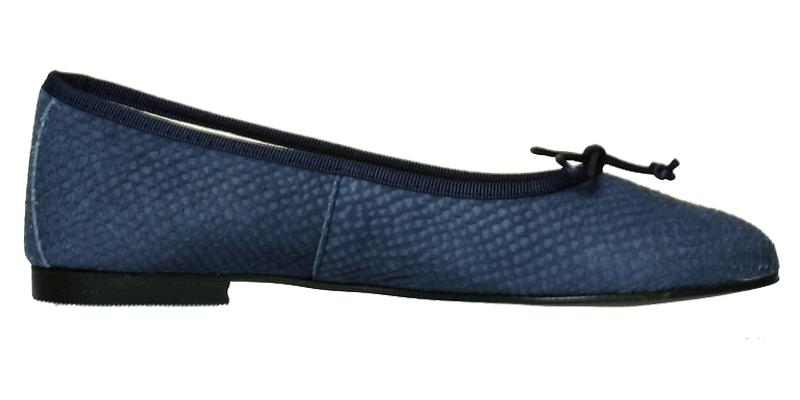 495e84f866efa6 Blaue Ballerina Schuhe - Leder Ballerinas Vintage Blau Schlangenoptik