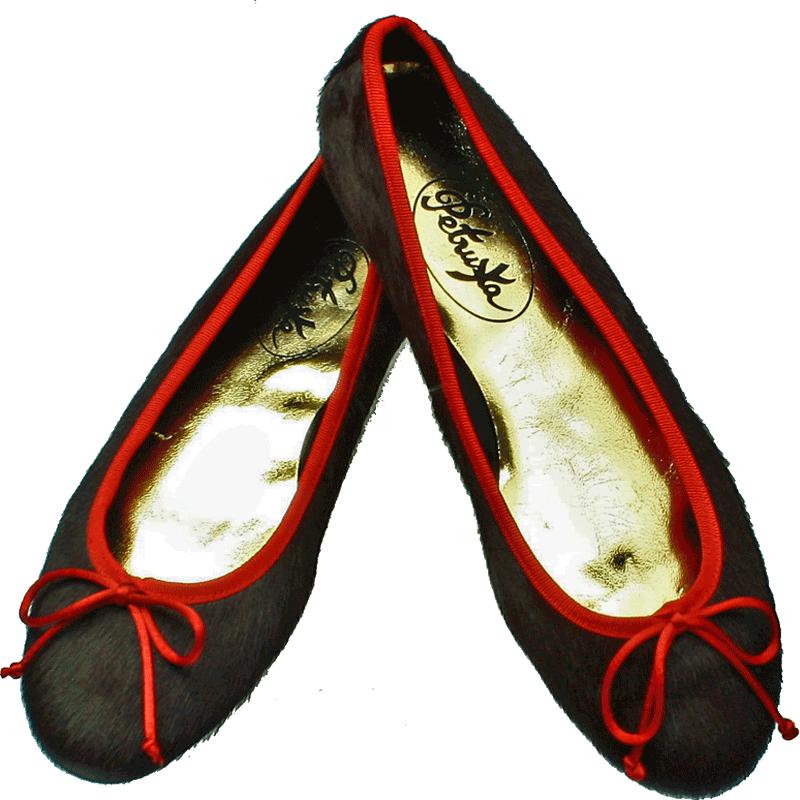 dd10e9e2b4f0 Damenschuhe-Leder Ballerinas Fell Braun-Rot online bestellen und kaufen!