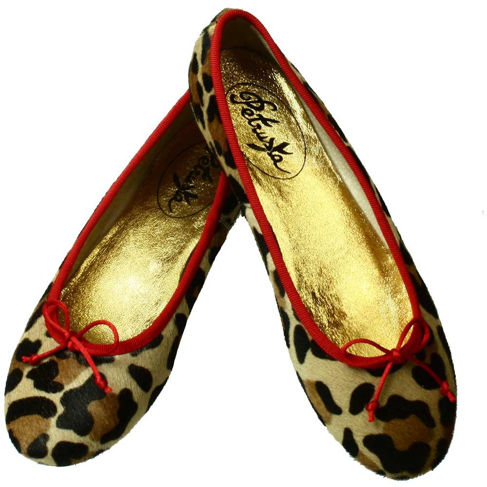 35c6ffda5597 Damenschuhe-Leder Ballerinas Fell Leo-Look mit rot online bestellen ...