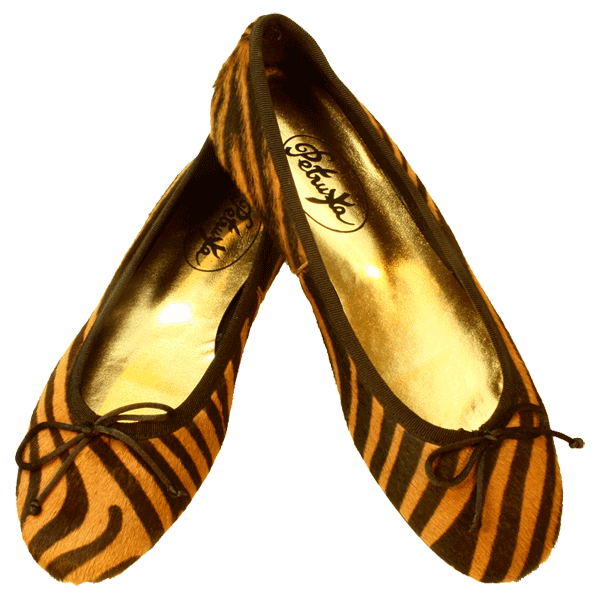 Tiger-Look Ballerinas Amur by Petruska - Fell Damenschuhe in Cognac
